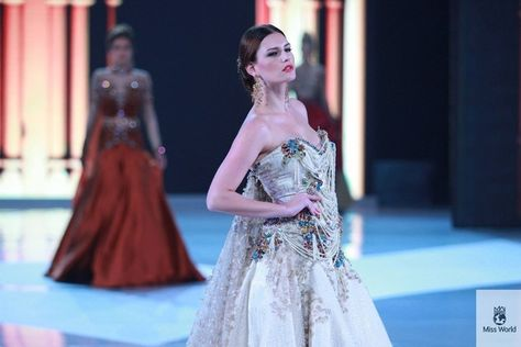Miss Denmark. | 37 Over-The-Top Evening Gowns From The 2013 Miss World Fashion Show