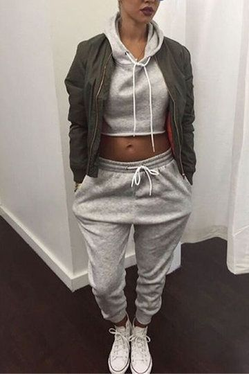 Gray Hoodie Crop Top & Drawstring Waist Pants Sports Suit