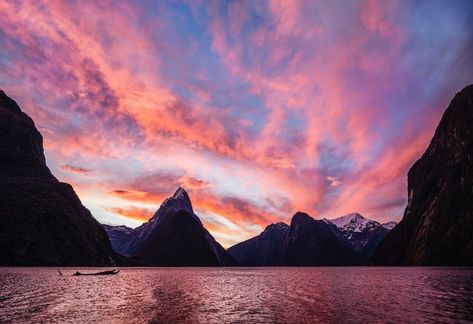 Beautiful Milford Sound in the fjords of the South Island of New Zealand at sunset... #TreyRatcliff #MilfordSound #Fjord #Sunset #Mountain #Pink