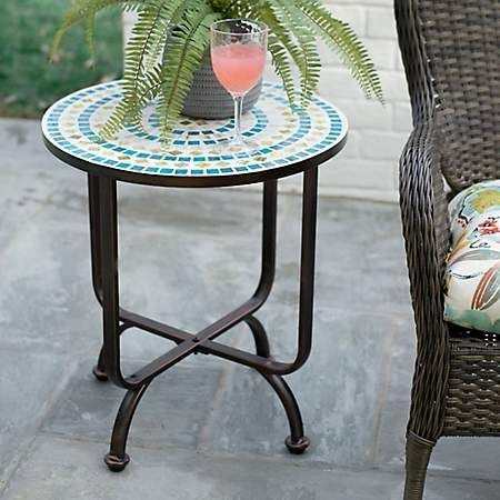 Blue And Green Mosaic Outdoor Side Table Kirklands Side Table Outdoor Side Table Green Table