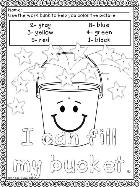 Back To School Activites Coloring Sheets Bucket Filling