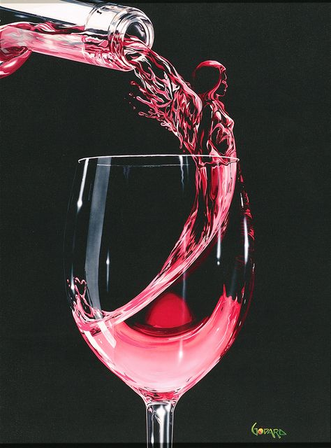 """Rose Angel"" animated wine painting by Michael Godard - Park West Gallery"