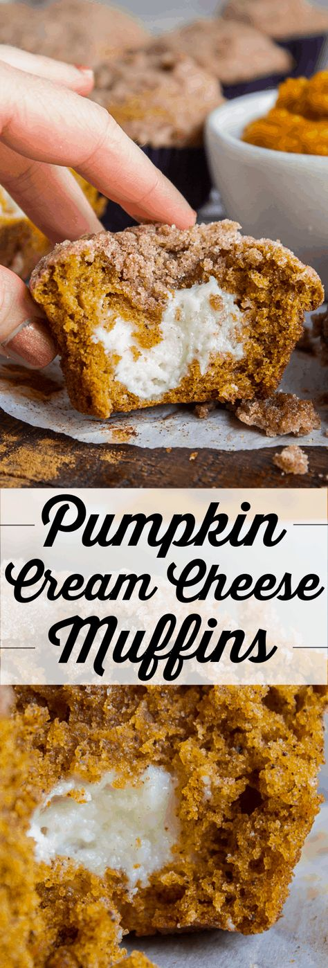 Pumpkin Cream Cheese Muffins from The Food Charlatan. There is no better way to welcome fall than with these Pumpkin Cream Cheese Muffins! A moist, tender, ultra pumpkin-y muffin, filled with sweetened cream cheese, and topped with cinnamon sugar crunch topping! They are irresistible! #muffin #pumpkin #fall #fallbaking #creamcheese #filling #filled #crumbtopping #topping #best #moist #cinnamon #pumpkinpie #pumpkinpiespice #thanksgiving #autumn #starbucks #copycat #tall #baking