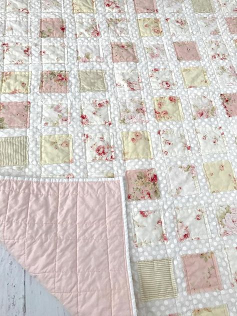 Whole Cloth Baby Girl Quilt with Soft Cotton Flannel and Minky Featuring Whimsical Fawns and Birds Pink Blue Green White
