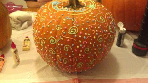 Glow in the dark painted pumpkin!