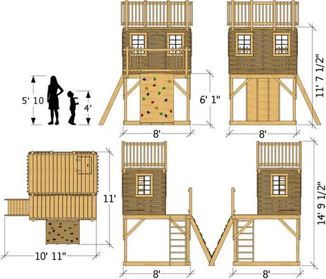 8x8 Paul's Clubhouse Plan for Kids | 3 Story, 128ft² Design – Paul's Playhouses
