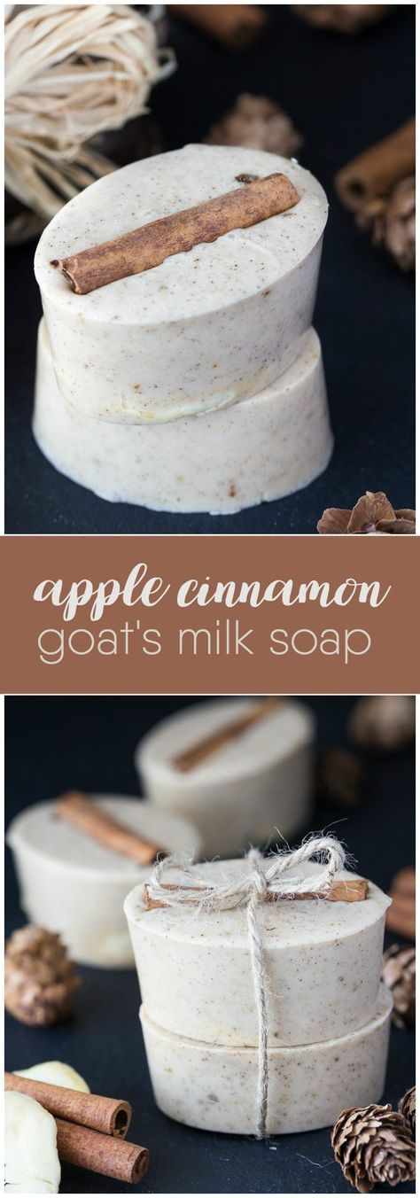 Apple Cinnamon Goat's Milk Soap – This beautiful soap smells like fall! It g… Apple Cinnamon Goat's Milk Soap – This beautiful soap smells like fall! It gives a rich lather and also makes a lovely DIY for someone special. Goat Milk Recipes, Soap Cake, Christmas Soap, Piel Natural, Shea Butter Soap, Body Butter, Homemade Soap Recipes, Lavender Soap, Goat Milk Soap