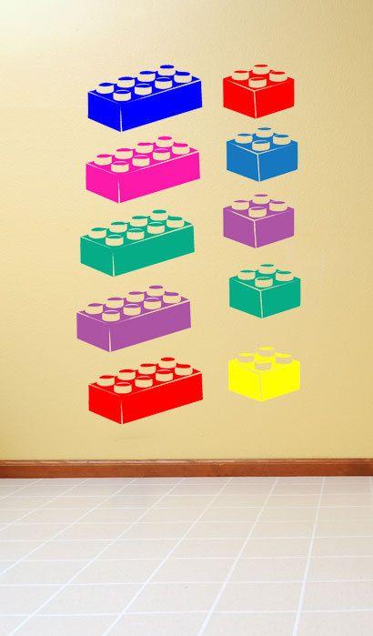 Building Bricks Vinyl Wall Decal Stickers Lego Stuff Pinterest - Vinyl wall decals brick
