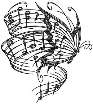 Soaring musical notes stream from this butterfly's wings. Pretty and uplifting! Downloads as a PDF. Use pattern transfer paper to trace design for hand-stitching.
