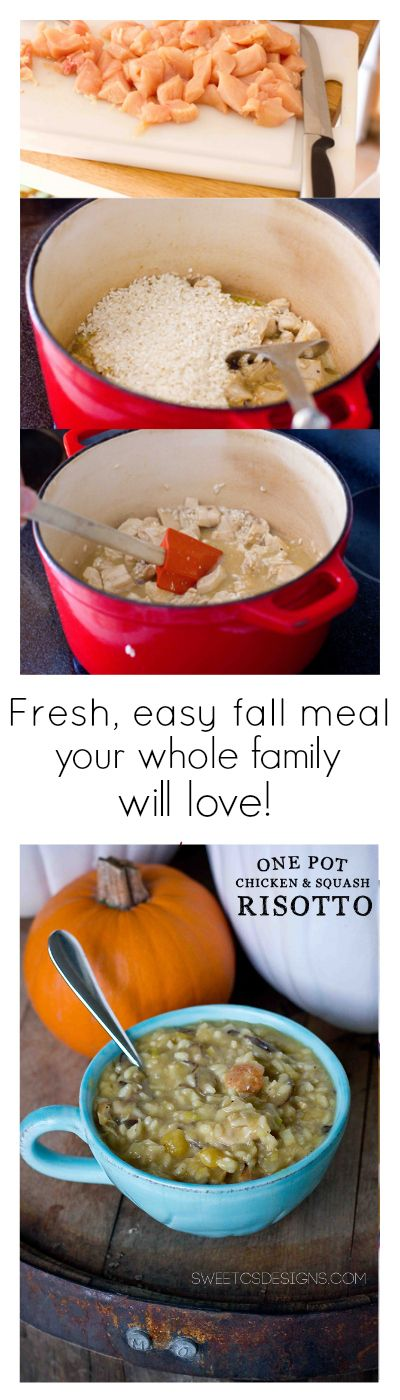 one pot chicken and butternut squash risotto- an easy fresh fall meal your family will love!