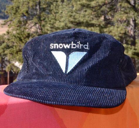 3354ab8c0b6a83 vintage 80s corduroy snapback hat SNOWBIRD utah ski trucker cord baseball  cap