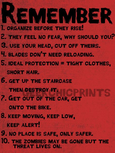 Rules of Zombie Survival Guide Max Brooks Creepy by GeekChicPrints, $5.50. Oh and we all need this one in preparation for the upcoming zombie apocalypse. ;)