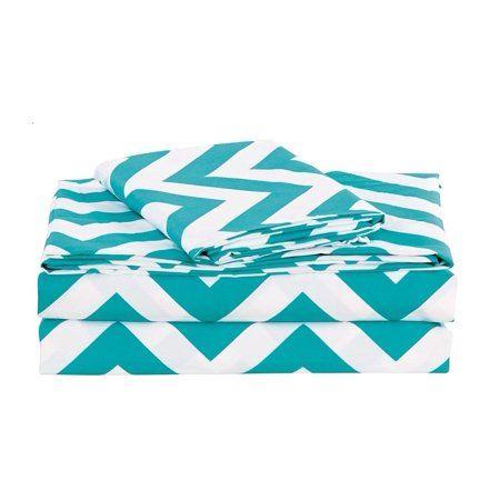 Chezmoi Collection Zoe 4 Piece Printed Chevron Zig Zag Reversible Sheet Set Walmart Com In 2020 Patterned Sheet Set Chevron Sheets Sheet Sets Queen