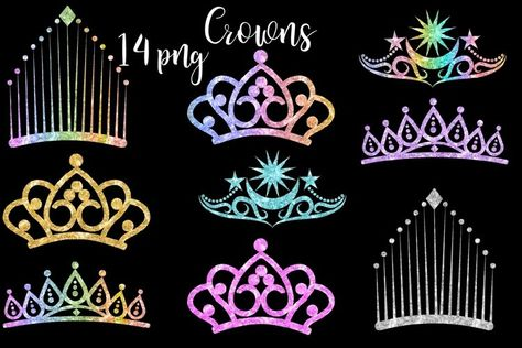 Glitter Crowns Clipart (227840)   Illustrations   Design Bundles