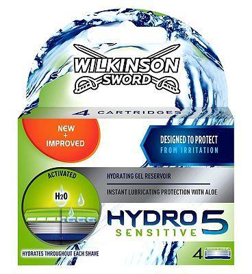 Wilkinson Sword Hydro 5 Sensitive Razor Blades 44 Advantage Card Points Free Delivery On Orders Over 45 Gbp Sensitive Hydrating Gel Wilkinson Sword