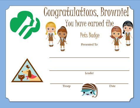 Brownie Pets Badge Certificate