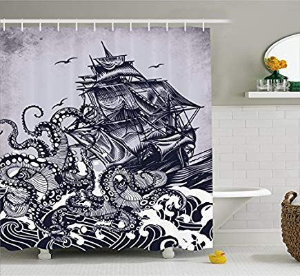 Ambesonne Sail Boat Waves And Octopus Old Look Home Textile