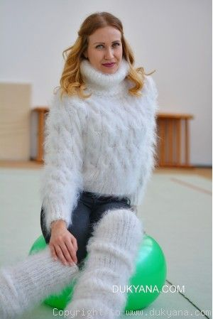 Hand knitted soft and silky cropped mohair Tneck and