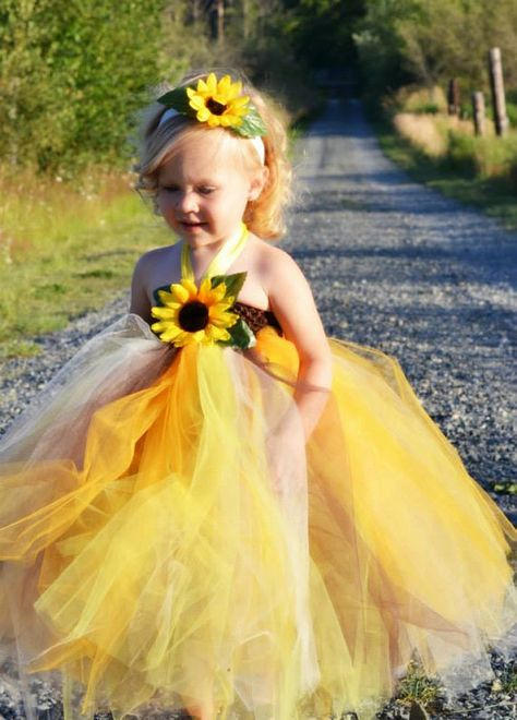 b5dad13d1c Wedding Sunflower Flower Girl Dress....Birthday Tutu Dress.....Pageant  Dress....Photo Shoot Tutu Dress