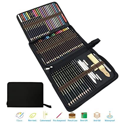 Lápices De Colores Lapiz De Madera Materiales Para Dibujo Artistico Kit De Dibujar Y Pintura Para Niños Set De 75 L Graphite Pencils Colored Pencils Pencil Art