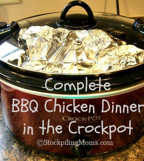 Complete BBQ Chicken Dinner in the Crockpot is excellent! #crockpot #slowcooker #bbqchicken