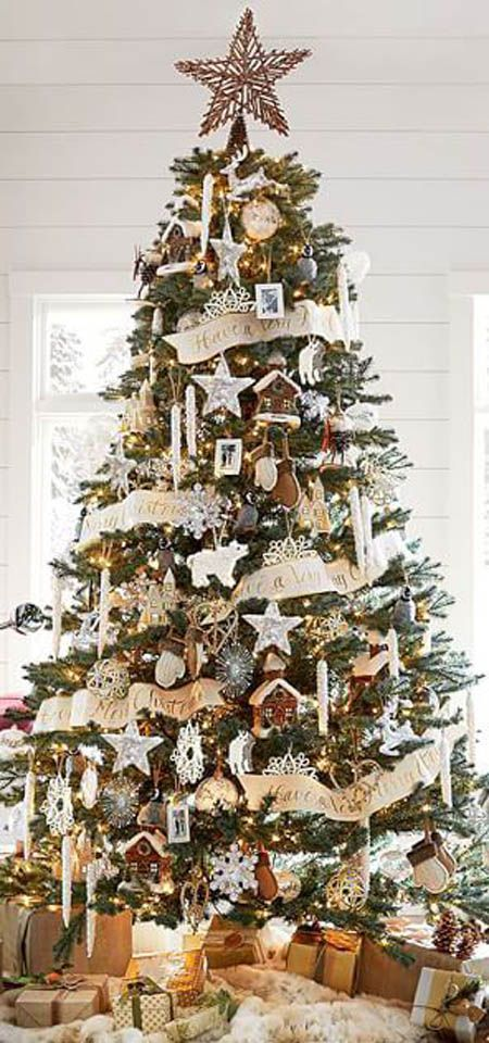60 Christmas Trees Beautifully Decorated To Inspire Rustic Christmas Tree Christmas Decorations Rustic Christmas Tree Themes
