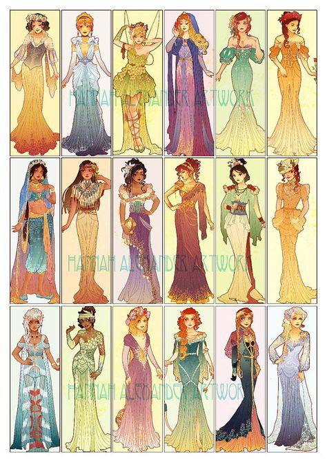 POSTER  Art Nouveau Princesses