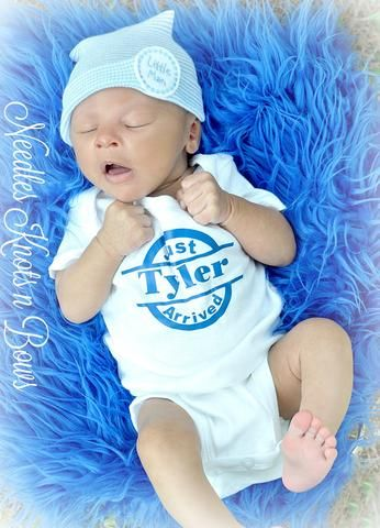 Personalized Infant Newborn Baby Boy or Girl Knot Tie Gown Outfit Gift US Seller