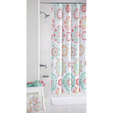Mainstaysa Groovy Medallion Fabric Shower Curtain Multicolor Medallion Shower Curtain Fabric Shower Curtains Shower Curtain