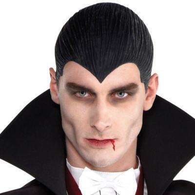 MENS VAMPIRE WIG Halloween Horror Hair Adult Boys Dracula Fancy Dress Costume UK