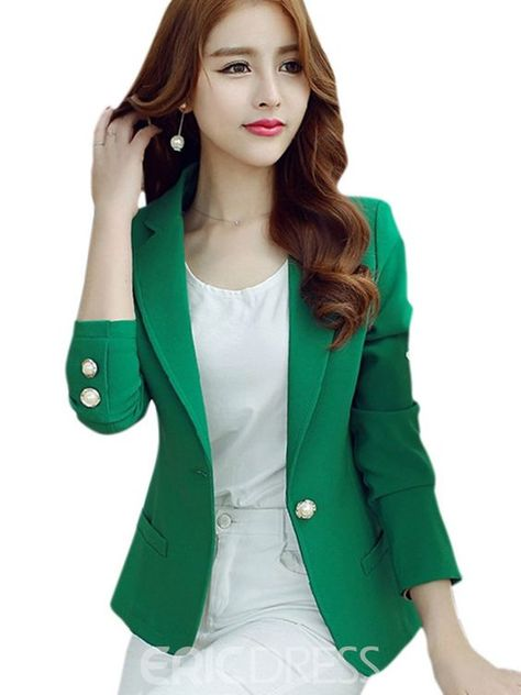 Limited Chance of Women Blazers 2019 Green Color Long Sleeve Jackets Solid Single Button Coat Slim Office Lady Female Tops Blazer Feminino I.