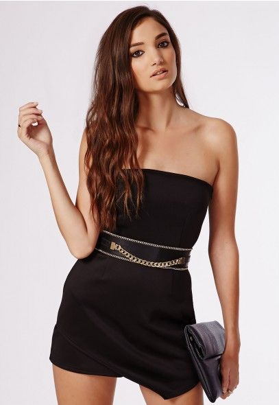 25dd0dc8c4 Keep your party pieces chic this season in the Missguieed Eileen Scuba  Asymmetric Bandeau Playsuit Black.