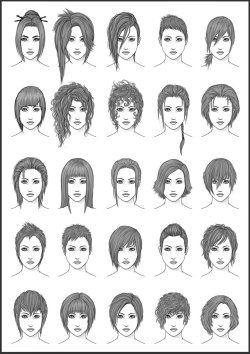 Drawing Art Hair Girl Female Style Women Draw Boy Man Men Woman Styles Chart Hairstyles Different Male Charts Deviantart Manga Hair Hair Sketch Hair Reference