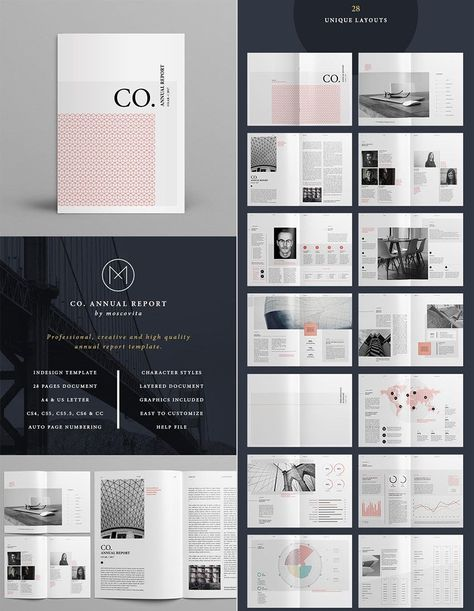 Co Minimal Annual Report Indesign Template Design Design Report