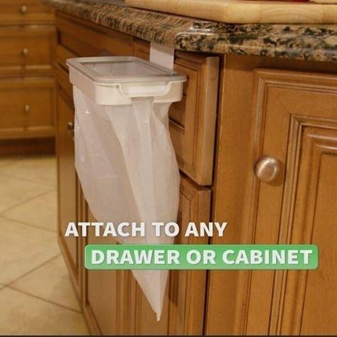 Cool Kitchen Gadgets, Home Gadgets, New Gadgets, Kitchen Items, Kitchen Hacks, Cool Kitchens, Hanging Storage, Storage Rack, Trash Bag