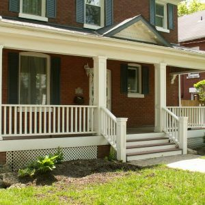Brick House With White Front Porch Railing Yahoo Image Search Results Porch Design Modern Front Porches Small Front Porches Designs