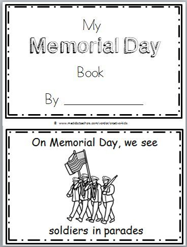 Memorial Day Mini Book For Kindergarten And 1st With Images