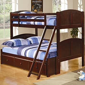 Twin Over Twin Cappuccino Bunk Bed By Coaster Furniture Bunk Beds Full Bunk Beds Cool Bunk Beds