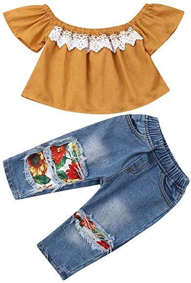 Toddler Baby Girls Off Shoulder Tops+Hole Denim Jean Short Long Pants Outfit Set