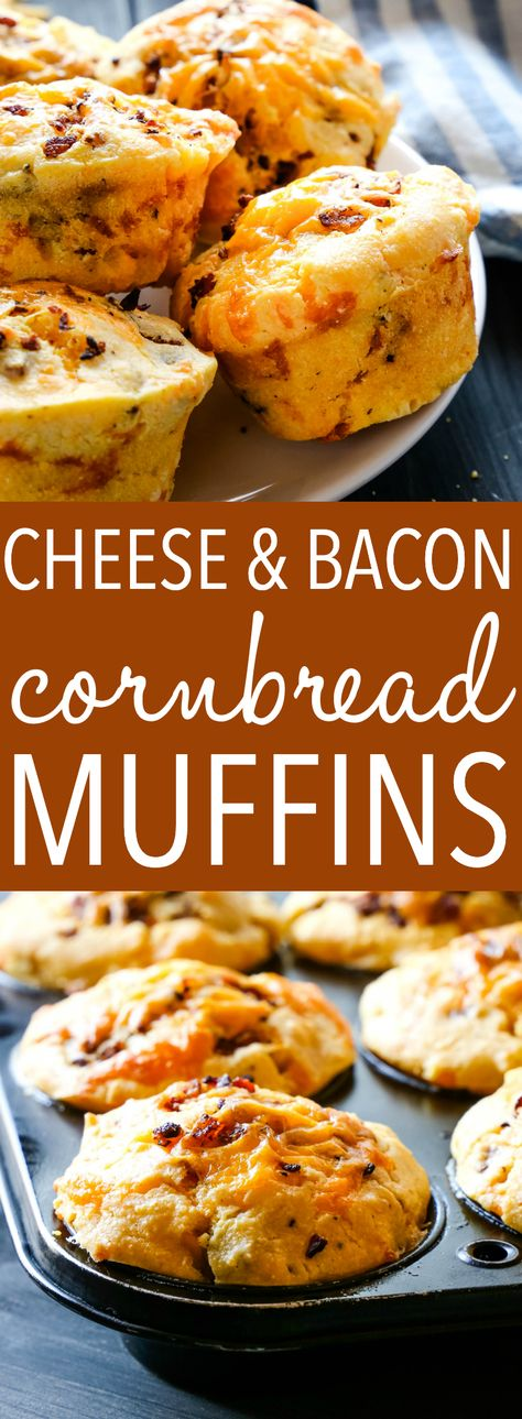 These Cheddar Cheese and Bacon Cornbread Muffins make the perfect snack or side dish for fall! Perfectly savoury and perfect with soup, stews, and for the holidays! Recipe from thebusybaker.ca! #muffins #cornbread #cornmeal #corn #fall #winter #soup #stew #bacon #cheese #savory
