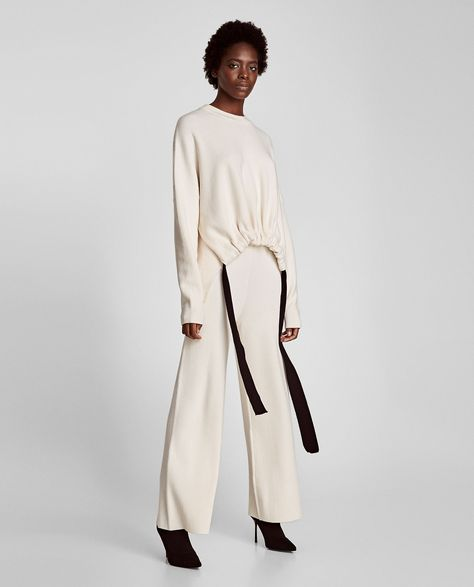 Image 1 of SWEATER WITH CONTRASTING RIBBONS from Zara