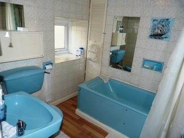 Sky Blue Bathroom Suite Home Coloured Suites Pinterest Retro Bathrooms Property And Ranges