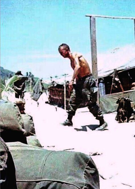 First Sergeant Burke, from east Tennessee stand down on Chu Lai, late 1967. A Company 1 Battalion 327 Regiment Airborne 101 Infantry Division Airborne.