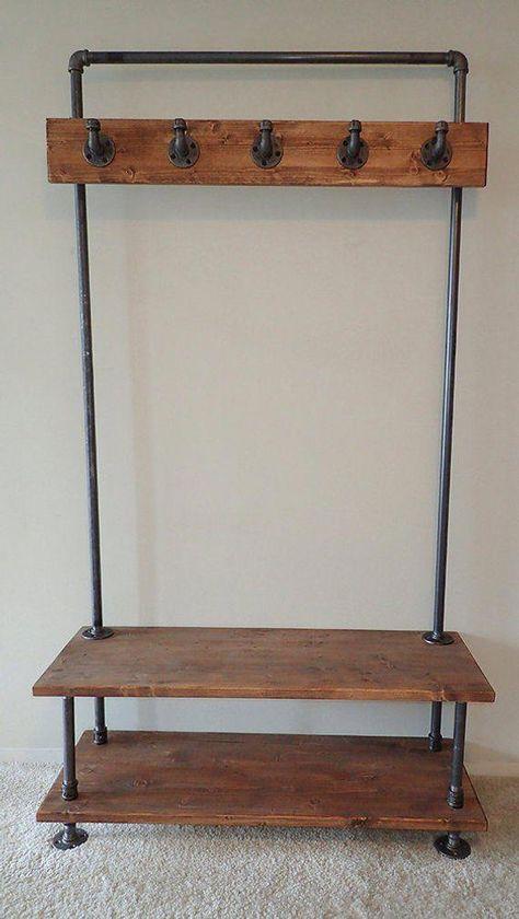 Industrial Pipe Entry Bench with Built-In Coat Rack   Etsy #homeremodelingdiy