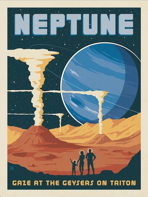 'Neptune - Retro/vintage space travel poster ⛔ HQ-size' Poster by DJ Alex Aveel Space Tourism, Space Travel, Arte Sci Fi, Space And Astronomy, Astronomy Quotes, Astronomy Tattoo, Astronomy Facts, Astronomy Science, Astronomy Pictures