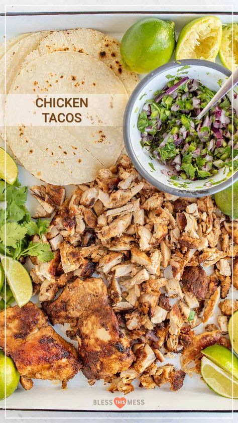 Introducing the best chicken tacos ever. An easy chicken taco recipe made with chicken thighs, plus a simple onion & cilantro topping. This is our all-time favorite chicken taco recipe. They taste lik Best Chicken Taco Recipe, Baked Chicken Tacos, Easy Baked Chicken, Chicken Recipes, Street Tacos Recipe Chicken, Meals With Chicken, Taco Chicken Marinade, Mexican Chicken Tacos, Healthy Chicken Tacos