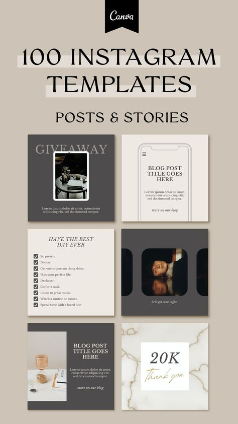 Instagram Feed for Coaches. Canva Template. Instagram Layout. Social Media Template.