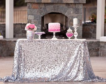 Amazing Silver Sequin Tablecloth Custom Sizes Available