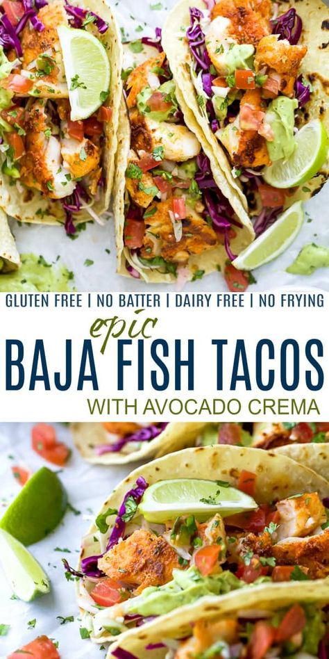The Best Baja Fish Tacos loaded with cilantro lime slaw zesty Avocado Crema and fresh Pico de Gallo! These fish tacos are pan seared with a blackening spice no frying or batter required! The perfect healthy dinner recipe everyone in your family will love! Fish Taco Sauce, Fish Taco Coleslaw Recipe, Mexican Fish Tacos, Baja Fish Taco Recipe, Slaw For Fish Tacos, Cilantro Lime Slaw, Cilantro Lime Chicken, Honey Chicken, Fish Tacos With Cabbage