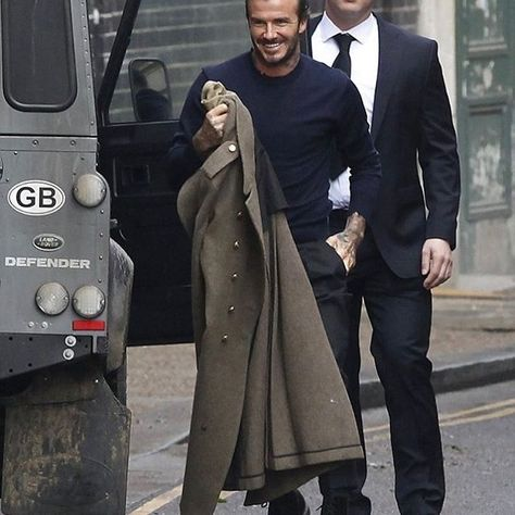 #DavidBeckham hops out a #LandRover with a #KentAndCurwen coat and #DrMartens boots in London.